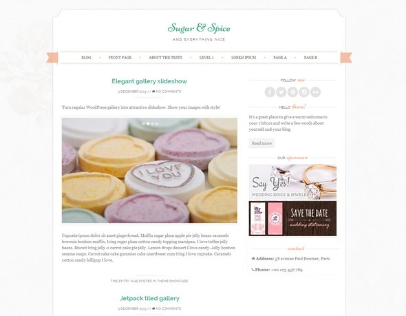 Sugar and Spice WP theme