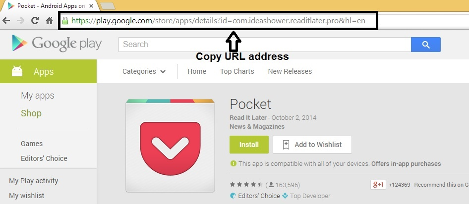 Copy app url from google play store