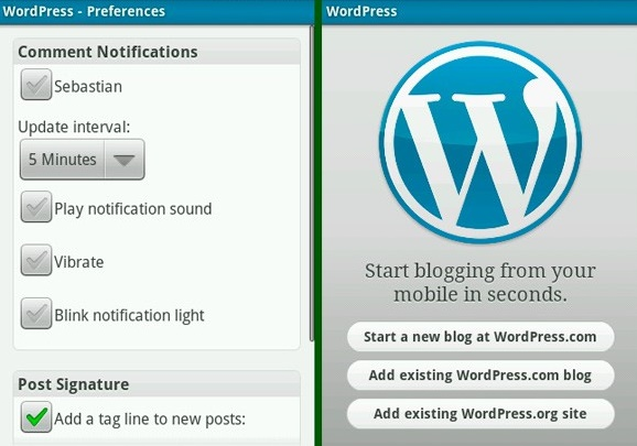 Wordpress blogging apps for android