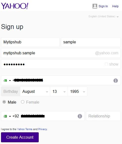 Yahoo Signup Form Filling