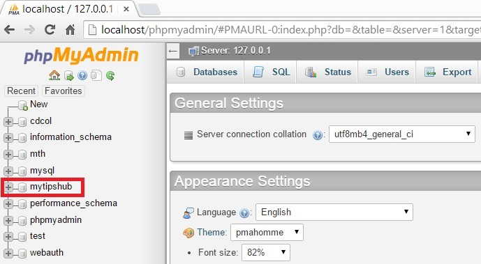 Delete Database in phpMyadmin