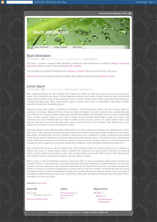 Black Minimalism Blogger Template