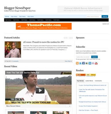 Blogger Newspaper Blogger Template