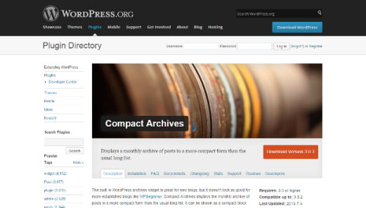 Compact Archives WordPress Essential Plugin