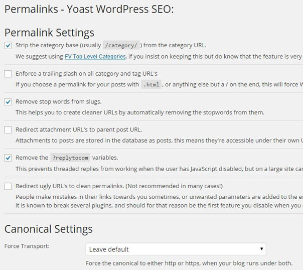 Permalinks Setting Yoast