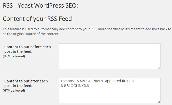 RSS Yoast WordPress SEO
