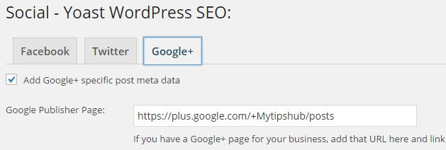 WP SEO Google Plus Setting