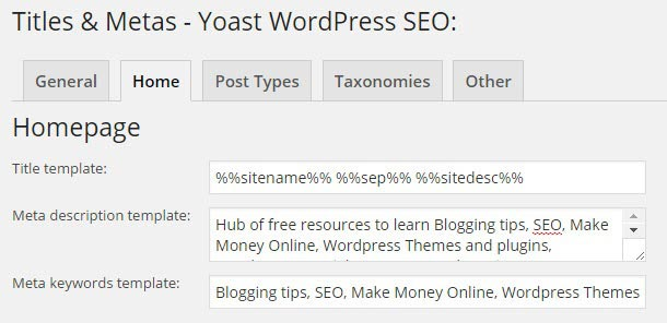 WP SEO homepage Setting
