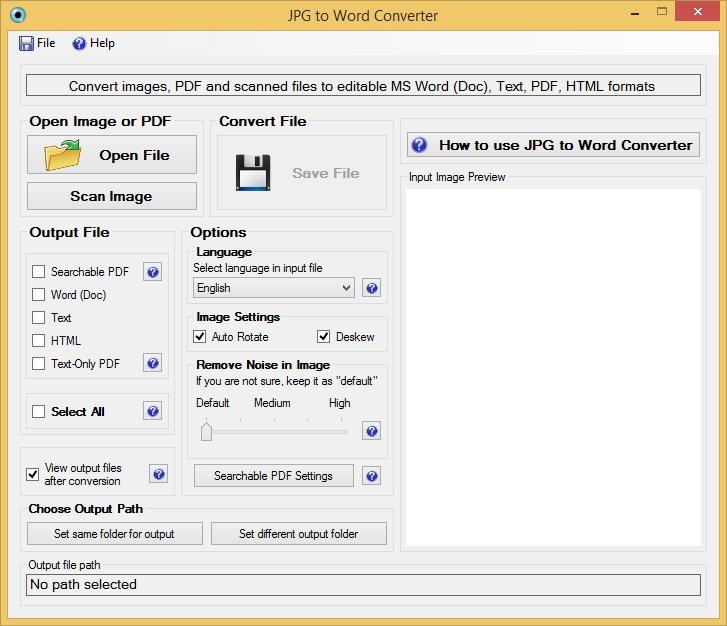 JPG to Word Converter Software GUI