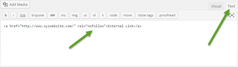 Manually Add Rel Nofollow Tag in External links