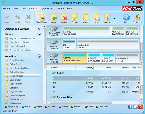Partition Merging Mini Partition Tool Wizard