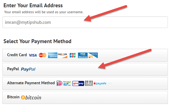 Enter Email Address and Select Payment Method