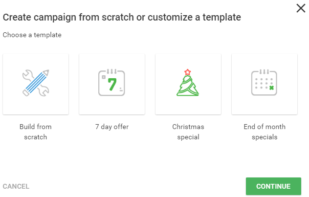 create new campaign with builtin templates
