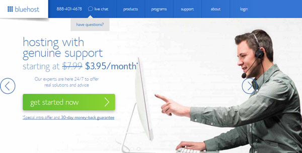 BlueHost cheap wordpress hosting 2018