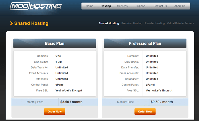MDDHosting Shared Plans