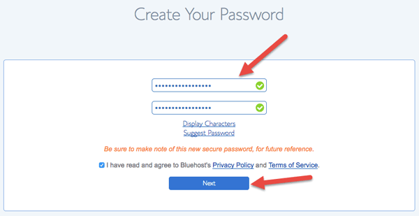 Enter Your Bluehost account password