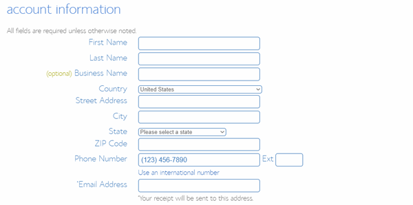 Fill Your BlueHost Account Information