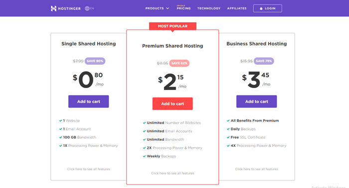 Hostinger shared hosting prices