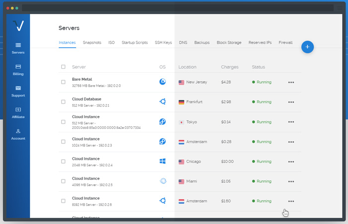 Vultr control panel overview