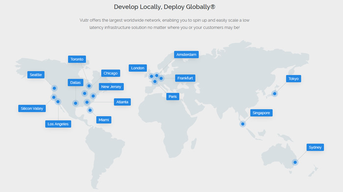 Vultr server locations map